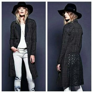 Free People Plaid Lace Duster Trench Coat